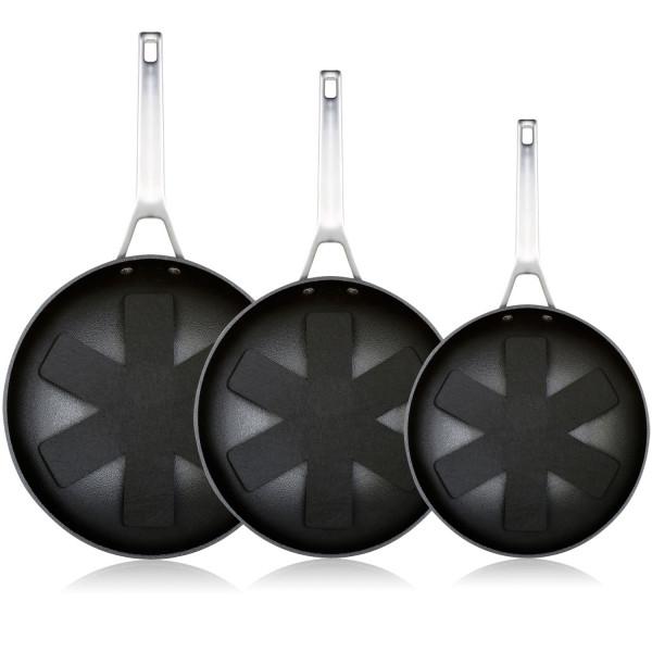 WECOOK Ecosteel Set Juego 3 Sartenes 20-24-28 cm inducción, 3 Capas Antiadherente Titanio sin PFOA, 4,2mm Espesor, Mango Acero INOX, Apta Todas Las cocinas, vitroceramica, Gas, Horno