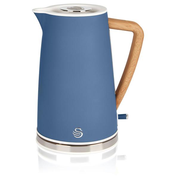 Swan Nordic Hervidor de agua eléctrico ultra rápido, inalámbrico sin cable, diseño moderno, 1,7 l, 2200 W, asa efecto madera, apagado automático, azul