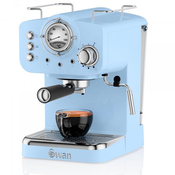 Swan SK22110BLN Retro Cafetera Express para Espresso y Cappucino, 15 bares presión, Vaporizador, capacidad 1,20 litros, 1 o 2 tazas café molido , diseño vintage Azul, 1100W