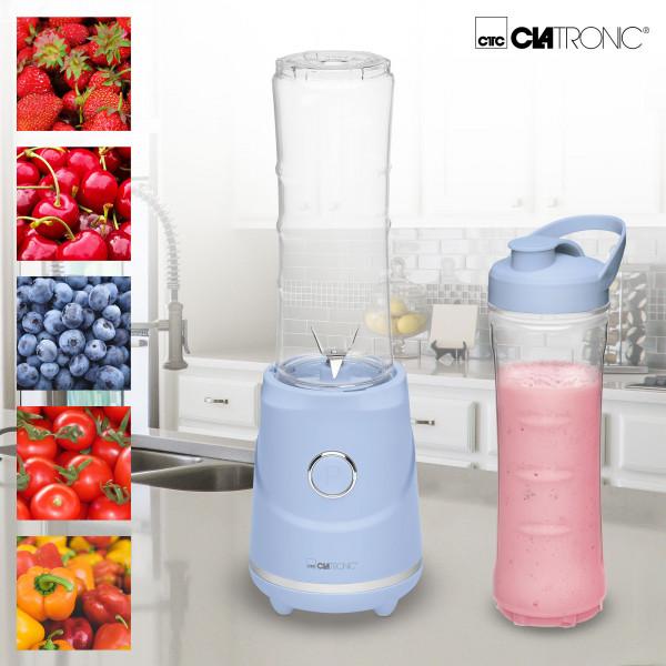 Clatronic SM3694 - Smoothie Maker Batidora y picadora de Frutas para Smoothies, frappes, Batidos, purés, 250W, jarra 600ml libre de BPA, Rock & Retro estilo vintage azul