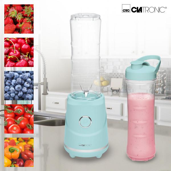 Clatronic SM 3694 - Smoothie Maker Batidora y picadora de Frutas para Smoothies, frappes, Batidos, purés, 250W, jarra 600ml libre de BPA, Rock & Retro estilo vintage verde
