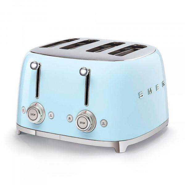 Smeg TSF03PBEU Tostadora, 4 Rebanadas, 4 Ranuras, 6 niveles de tostado, 3 Funciones (Descongelar, Calentar y Parada), Diseño Vintage 50's Style Azul Pastel, 2000W