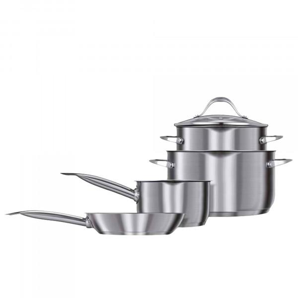 Smile MGK-20 Batería de Cocina Inducción,7 Piezas, Acero Inoxidable 3 Ollas + 1 Sartén, 3 Tapas Vidrio Templado, Apta Para Todo Tipo de Cocinas, libre PFOA