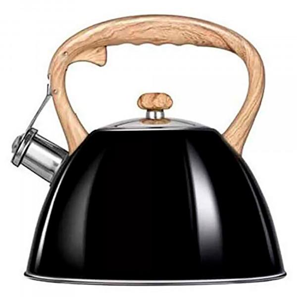 Smile MCN12/C Tetera con Silbato, Hervidor de Agua Retro, Inducción, Vitrocerámica, Todo Tipo de Cocinas, 3 L, Acero Inoxidable, Mango Imitación Madera Tacto Frío, Diseño Vintage, Negro