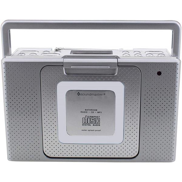 Soundmaster BCD480 Radio FM, Reloj, Portátil, Digital Reproductor, CD, CD-R, CD-RW, MP3, Despertador, Salida de Auriculares, Resistente a Salpicaduras, Color Plata