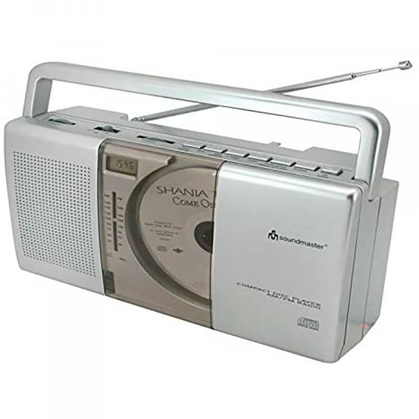 Soundmaster RCD1150 Radio AM/FM, Reloj, Portátil , Reproductor CD-CDR, CDRW, Salida de Auriculares, Color Plata