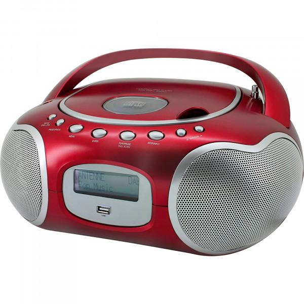 Soundmaster SCD4200RO Radio DAB+/FM, Reproductor de CD, CDR, CDRW y CD-MP3, USB, Portátil, Pantalla LCD, PMPO 60W, Rojo