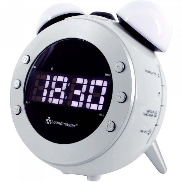 Soundmaster UR140WS Radio FM PLL, Despertador, 2 Alarmas, Proyector, Compacta, Pantalla LCD, Iluminación Regulable, Blanco