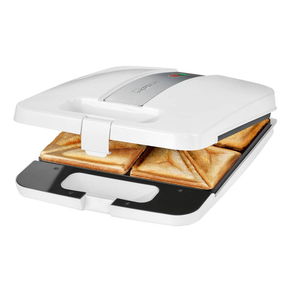 Clatronic ST 3629 - Sandwichera para 4 sandwiches, antiadherente, 1200 W, color blanco