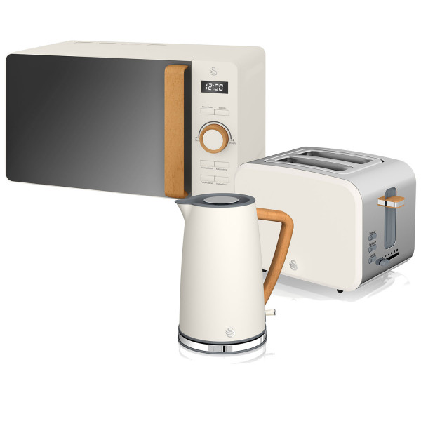 Swan Nordic Set Desayuno Hervidor de agua 1,7L 3000W, Tostadora Pan ranura ancha 2 rebanadas, Microondas 20L digital, diseño moderno, efecto madera, blanco