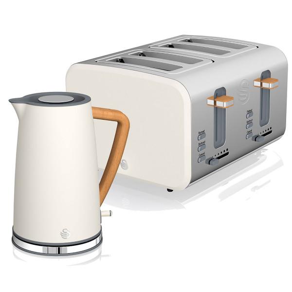 Swan Nordic Set Desayuno Hervidor de agua inalámbrico 1,7L 3000W, Tostadora Pan ranura ancha 4 rebanadas, 3 funciones, diseño moderno, efecto madera, blanco