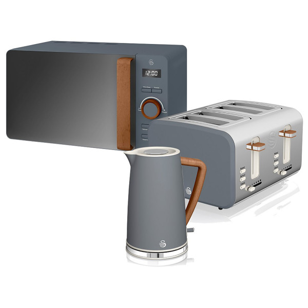 Swan Nordic Set Desayuno Hervidor de agua 1,7L 3000W, Tostadora Pan ranura ancha 4 rebanadas, Microondas 20L digital, diseño moderno, efecto madera, gris