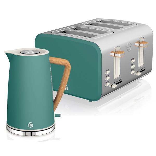 Swan Nordic Set Desayuno Hervidor de agua inalámbrico 1,7L 3000W, Tostadora Pan ranura ancha 4 rebanadas, 3 funciones, diseño moderno, efecto madera, verde