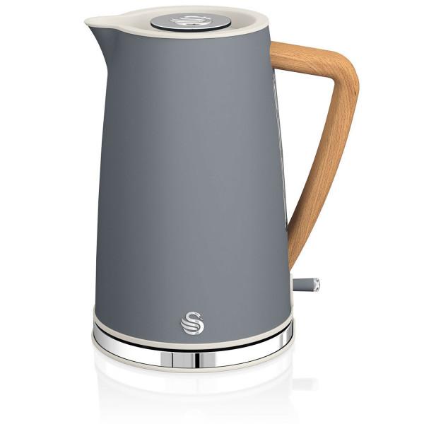 Swan Nordic Hervidor de agua eléctrico ultra rápido, inalámbrico sin cable, diseño moderno, 1,7 l, 3000 W, asa efecto madera, apagado automático, gris