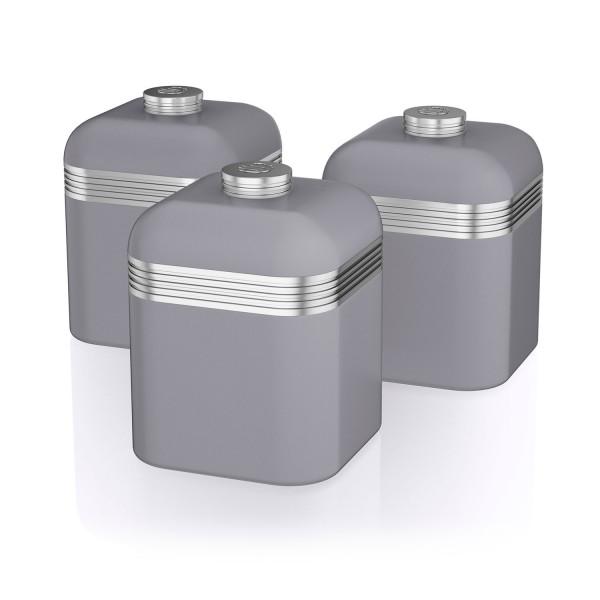 Swan SWKA1020GRN Set 3 Botes metálicos de almacenamiento 1 litro, especias, té ,café, vintage diseño retro Gris