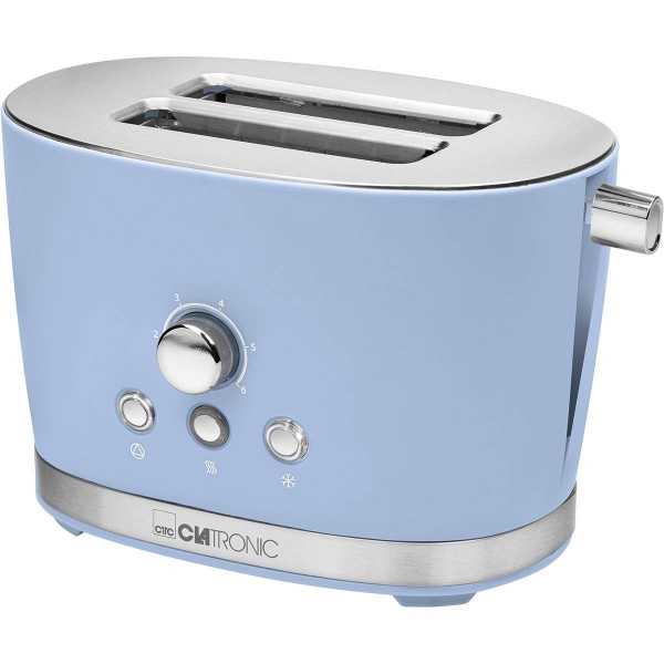 Clatronic TA 3690 - Tostadora 2 rebanadas, 3 funciones, calienta panecillos, 850W, diseño retro azul pastel