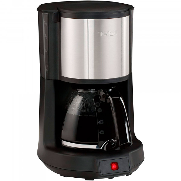 Tefal CM3708 Cafetera de Goteo, Capacidad de 8 a 10 Tazas de Café, 1,25L, Sistema Antigoteo, 1000W, Color Negro/Acero Inoxidable