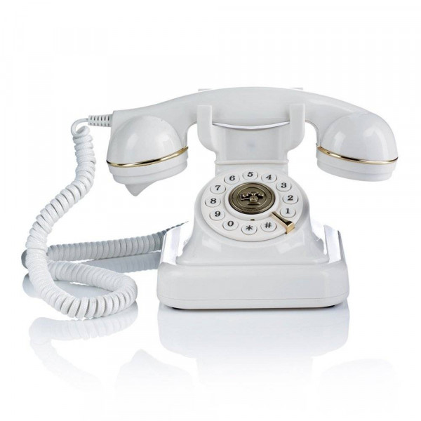 Briebe Vintage Retro - Teléfono analógico con cable, diseño estilo antiguo, color blanco