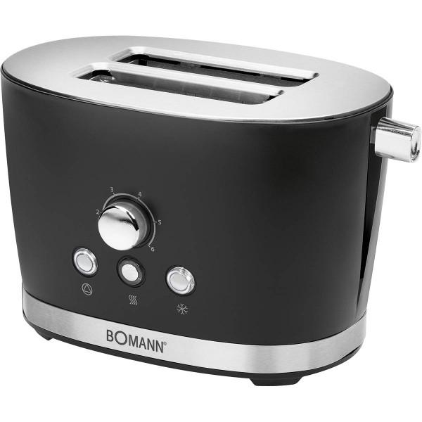 Bomann TA 3005 - Tostadora 2 rebanadas, 3 funciones, calienta panecillos, 850W, diseño retro negro
