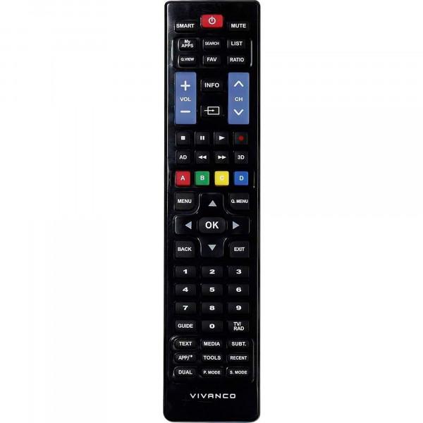 Vivanco RR220IR Mando a Distancia Universal para TV Samsung y LG, Compatible con Smart TV, Negro