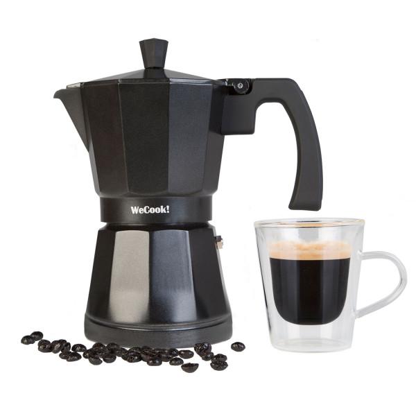 Wecook Luccia Cafetera Italiana inducción de aluminio express, 3 tazas café