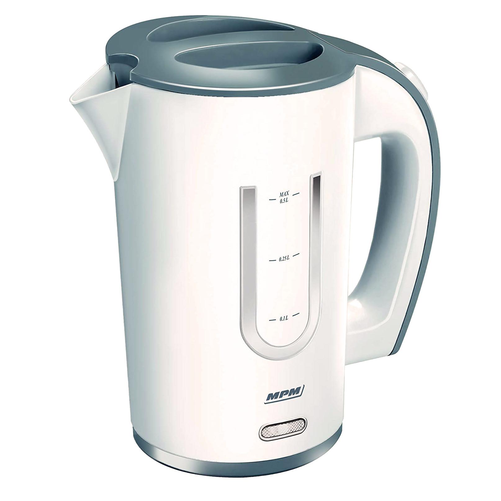 MPM MCZ-54 Hervidor de Agua Eléctrico compacto, 0,5 Litros, 1000W, Ventana Lateral, Libre de BPA