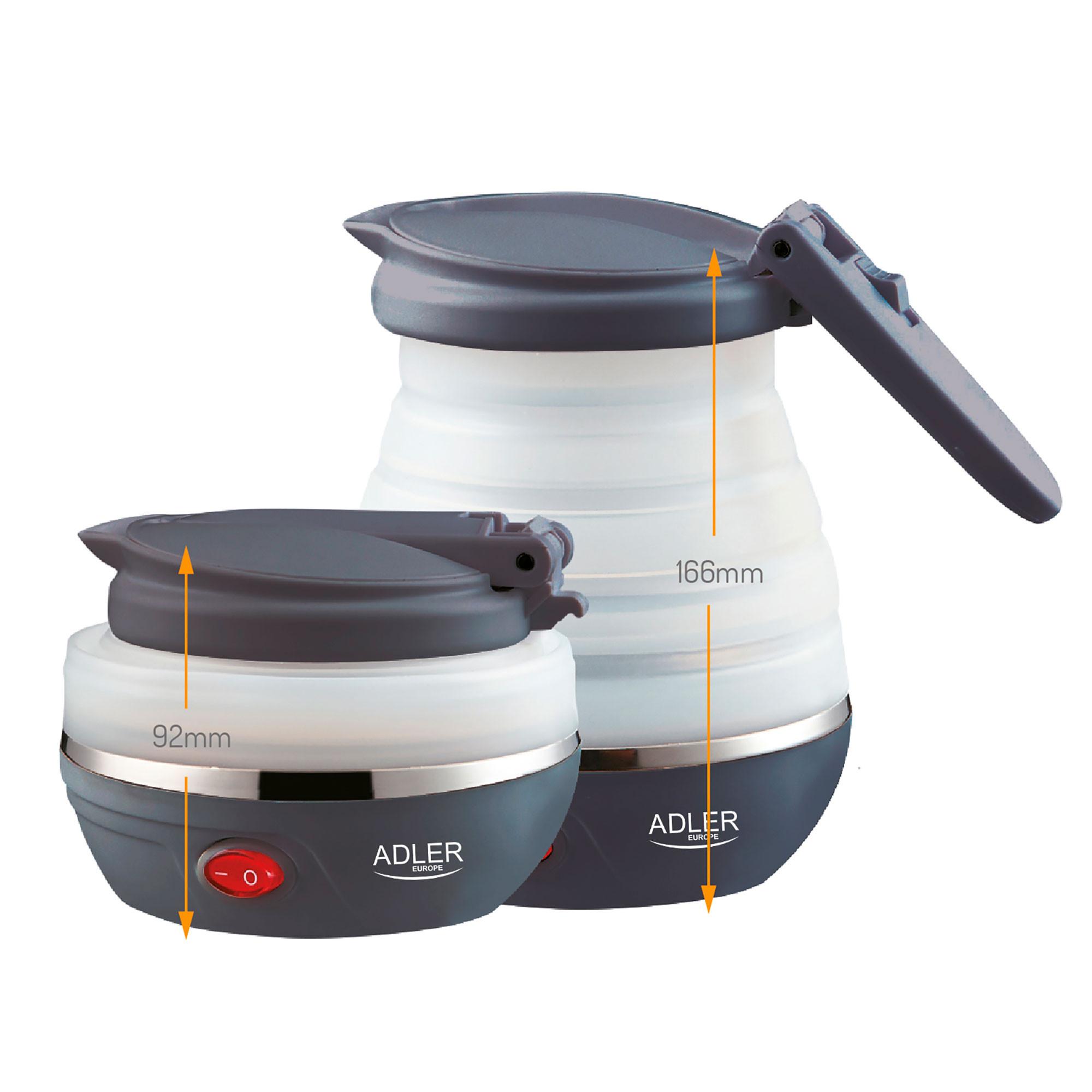 Adler AD1279 Hervidor de Agua Eléctrico Plegable, Resistencia Oculta, Tapa automática, Silicona, 0,6 Litros, 750W, Libre de BPA, Blanco
