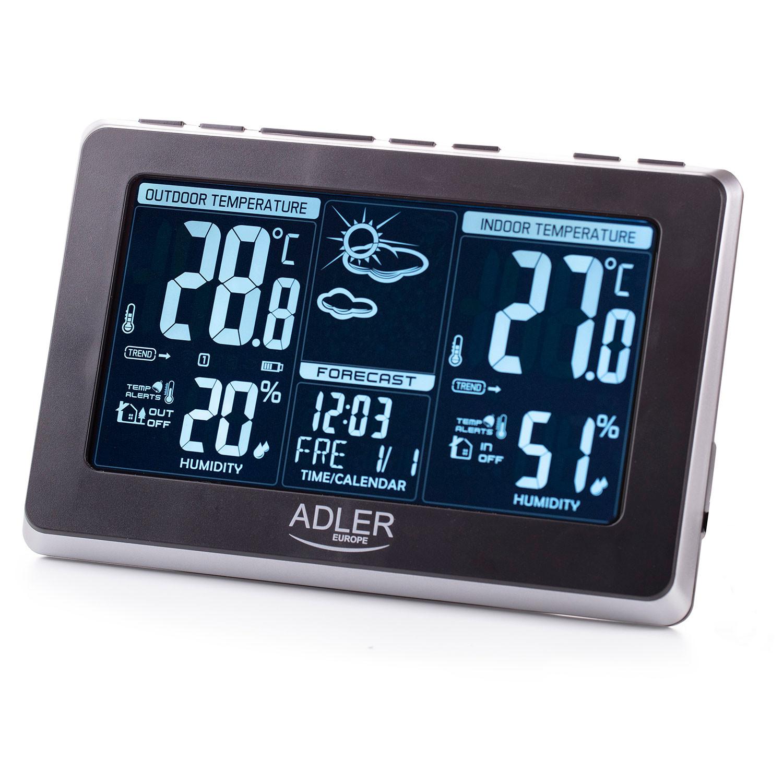 ADLER AD1175 Estación Metereológica Temperatura y Humedad Interior y Exterior, Sensor Inalámbrico, Pronóstico de Tiempo, Indicador Fecha y Hora, Alarma