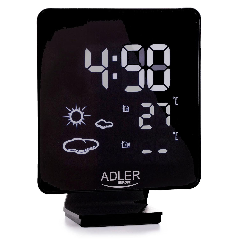 ADLER AD1176 Estación Metereológica Temperatura Interior y Exterior, Sensor Inalámbrico, Pronóstico de Tiempo, Indicador Fecha y Hora, Alarma