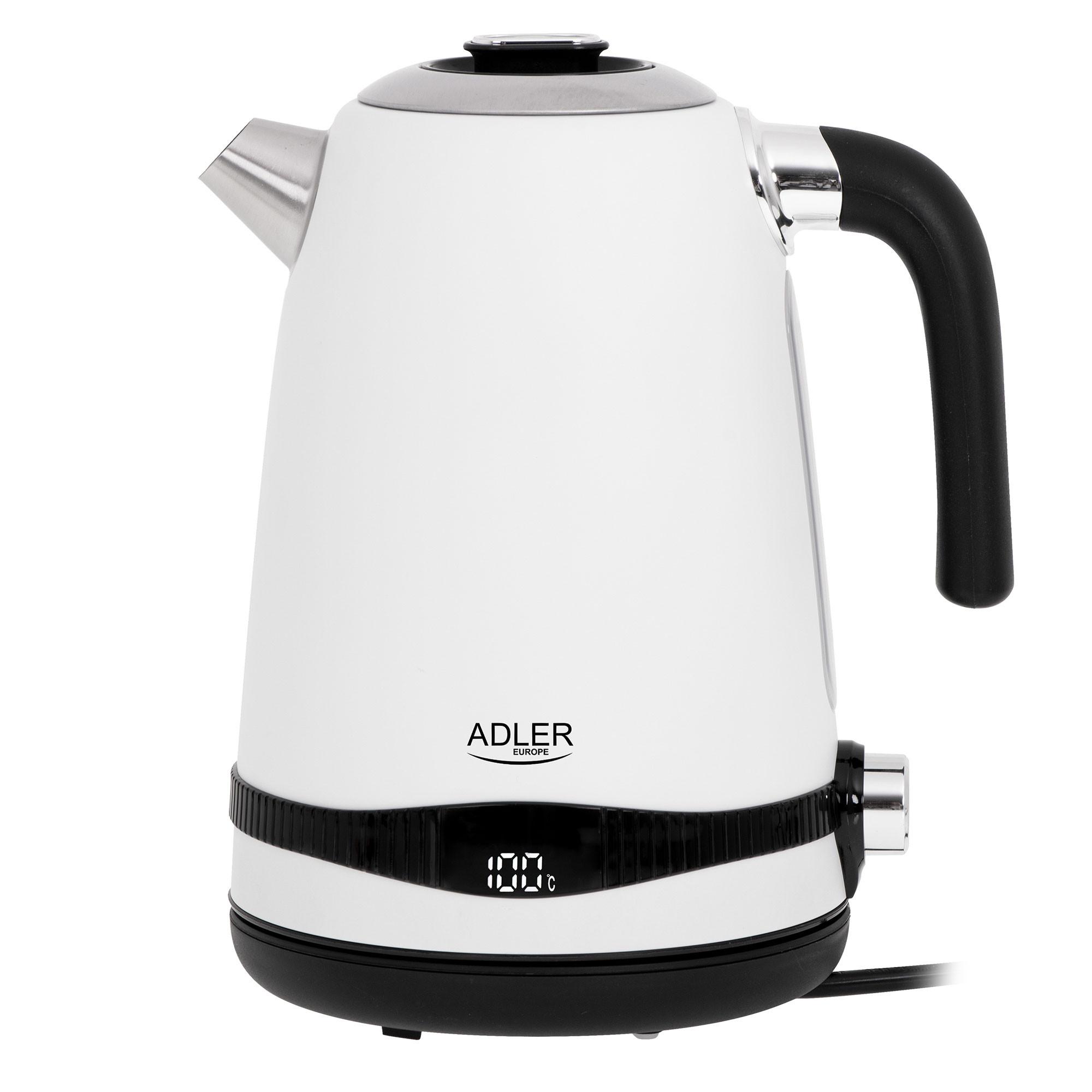 Adler AD1295W Hervidor Agua Eléctrico, Vintage, 1,7 L, sin BPA, Pantalla LCD, Control de Temperatura, Acero Inoxidable, Inalámbrico, Resistencia Oculta, Apagado Automático, 2200W, Blanco