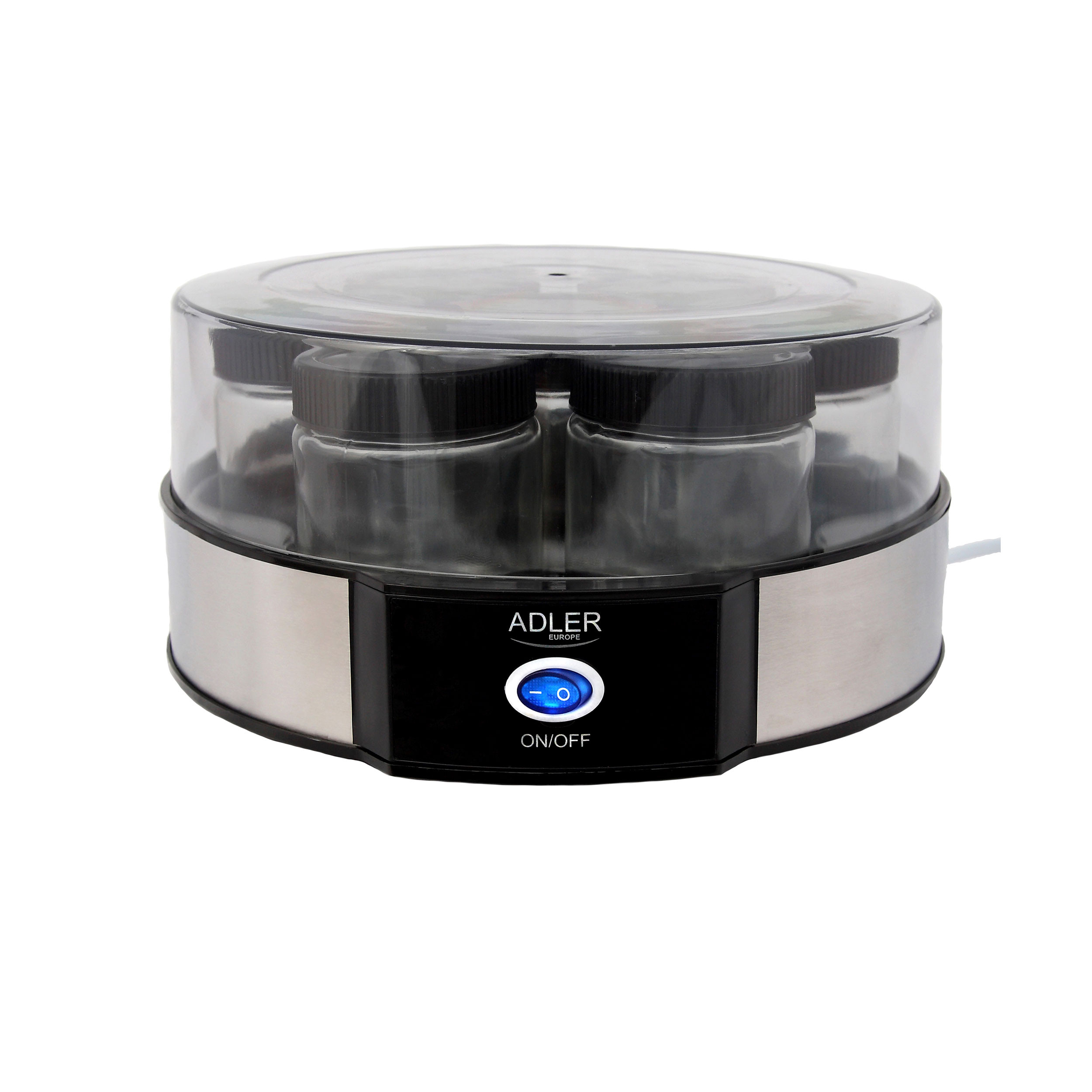 Adler AD4476 - Yogurtera capacidad 1,4 Litros, 7 tarros 200ml, negro
