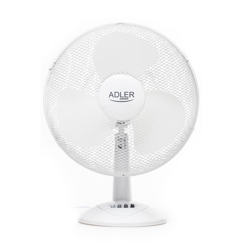Adler AD7304 Ventilador de Mesa Silencioso, 40cm, Portátil, Oscilante, 3 velocidades, Orientación Ajustable, Blanco, 45W