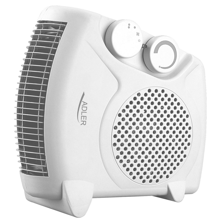 Adler AD77W Calefactor, 2 niveles de temperatura, función ventilador, 2000 W, color blanco