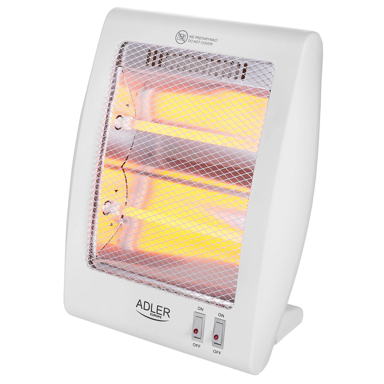 Adler AD7709 Estufa eléctrica de cuarzo portátil, radiador halógeno, 2 niveles temperatura, sistema seguridad, 400/800W