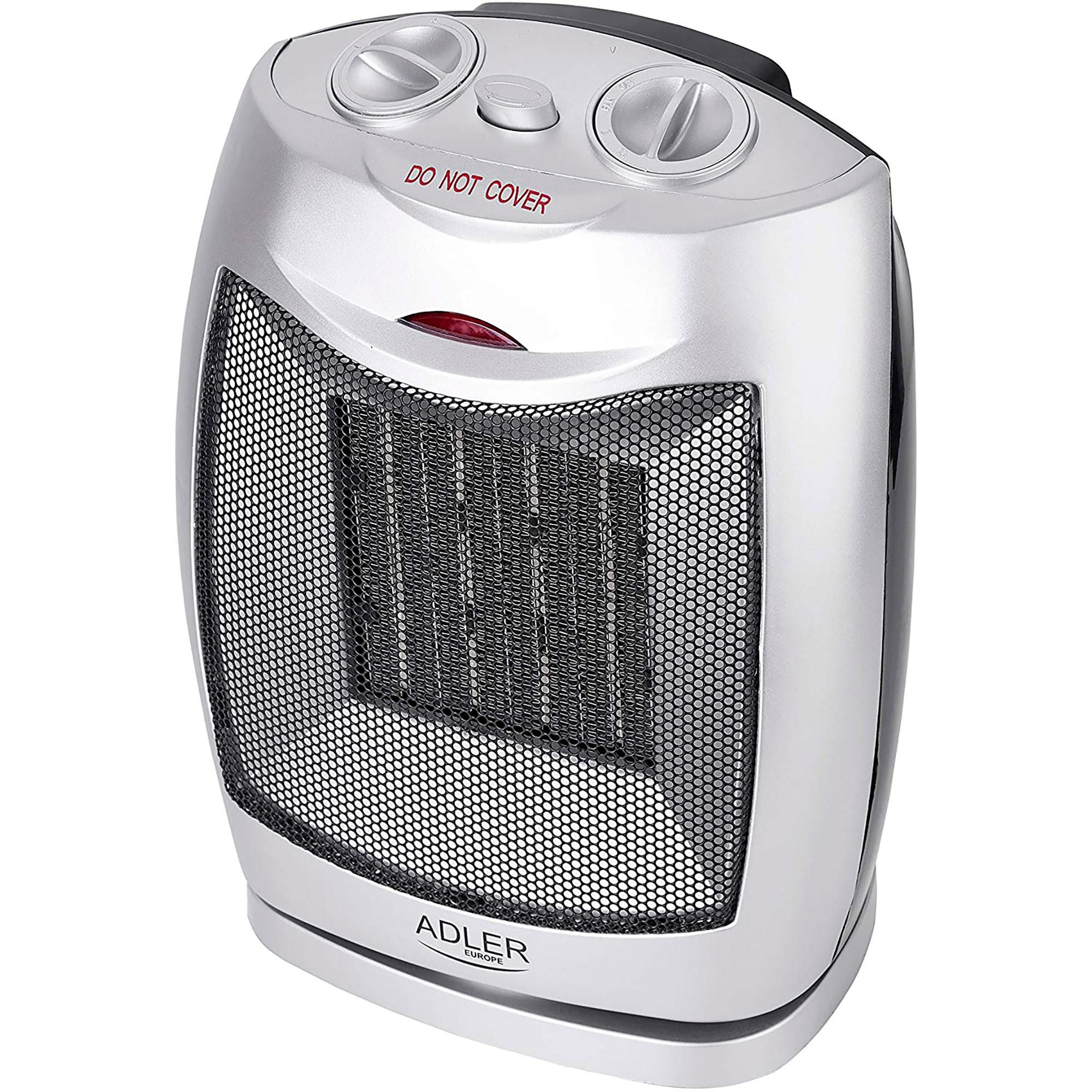 Adler AD7703 Calefactor Cerámico portátil PTC, 2 niveles potencia, termostato, protección sobrecalentamiento, 1500W