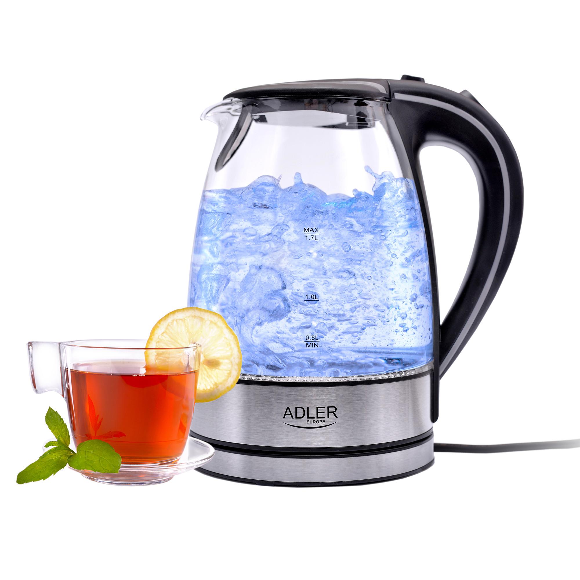 ADLER AD-1225 Hervidor de agua eléctrico cristal 1,7 litros, recipiente sin BPA, resistencia oculta, 2200 W con apagado automático al alcanzar la ebullición, inalámbrico 360º sin cable