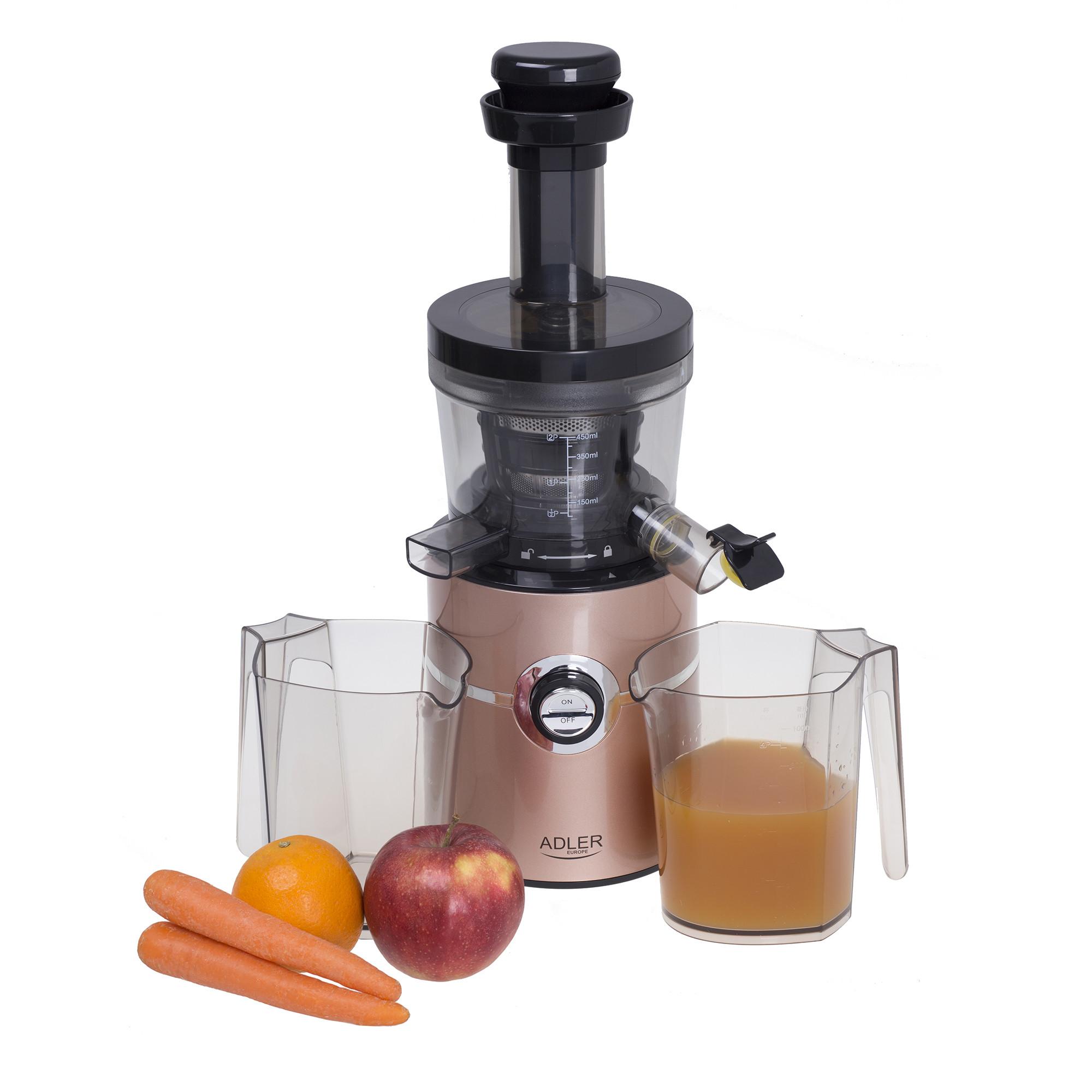 ADLER AD4119 Licuadora prensado en frío para verduras y frutas, baja velocidad 70 RPM, Slow Juicer, 2 Recipiente de jugo y Pulpa, función inversa, 200W