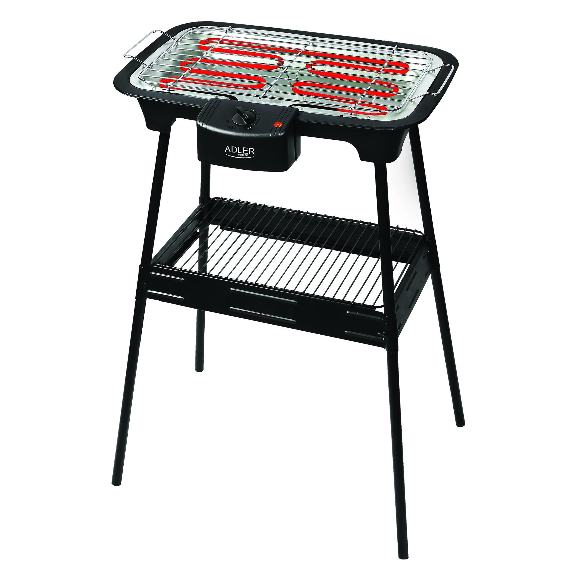 ADLER AD6602 Barbacoa Parrilla Eléctrica, Con Base, Ajuste de Temperatura, Calentador Extraíble, 2000 W, Negro