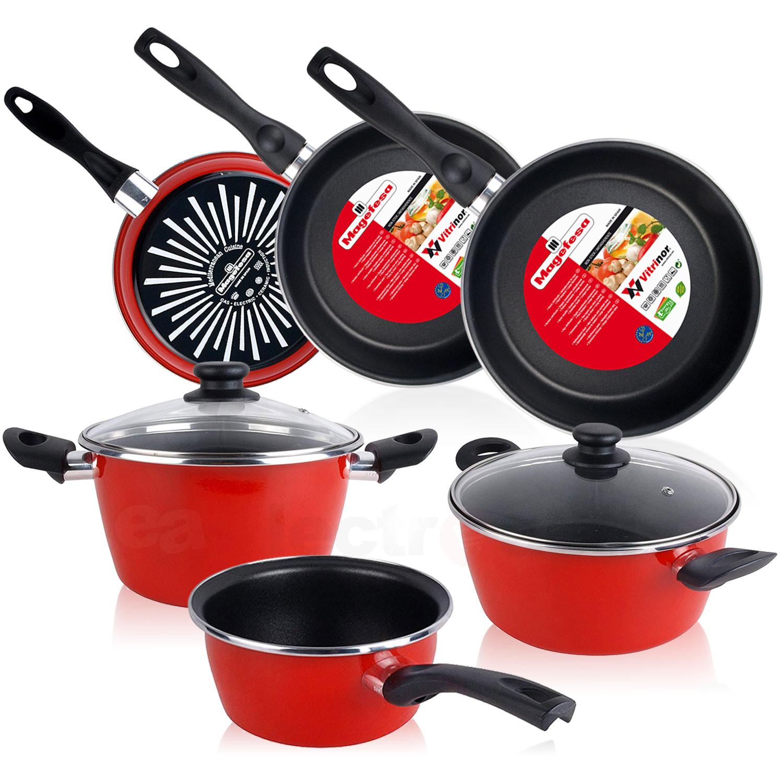 Magefesa GRANA - Bateria de cocina 5 piezas + Set Juego 3 Sartenes 18-20-24 cm