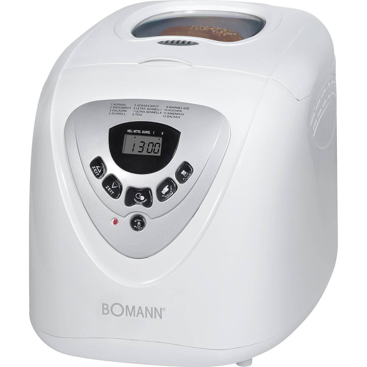 BOMANN BBA 566 - Panificadora programable, capacidad 1 kg, 12 programas cocción, 39 posibilidades, 600 W, color blanco