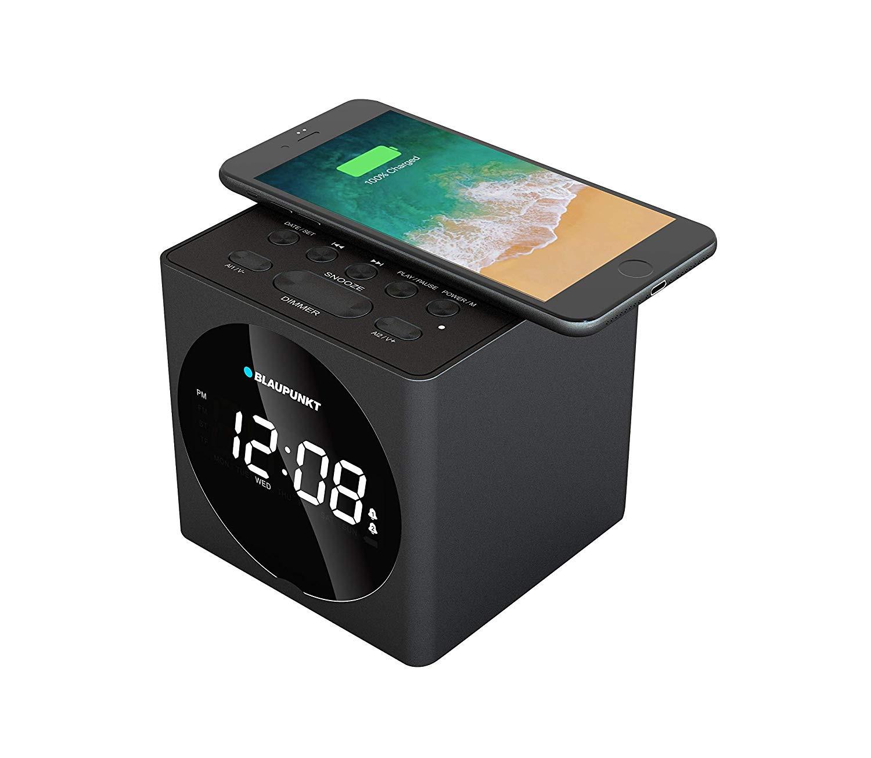 Blaupunkt BLP2612 - Radio Despertador digital Bluetooth ( SD, AUX-IN, FM), cargador de teléfono por inducción inalámbrica, negro