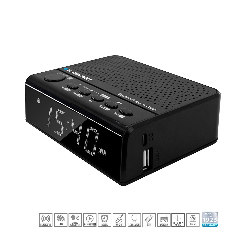 Blaupunkt BLP2900 Radio Despertador Digital con Bluetooth, USB, AUX-IN y micrónfono, función manos libres, batería 2000mAh