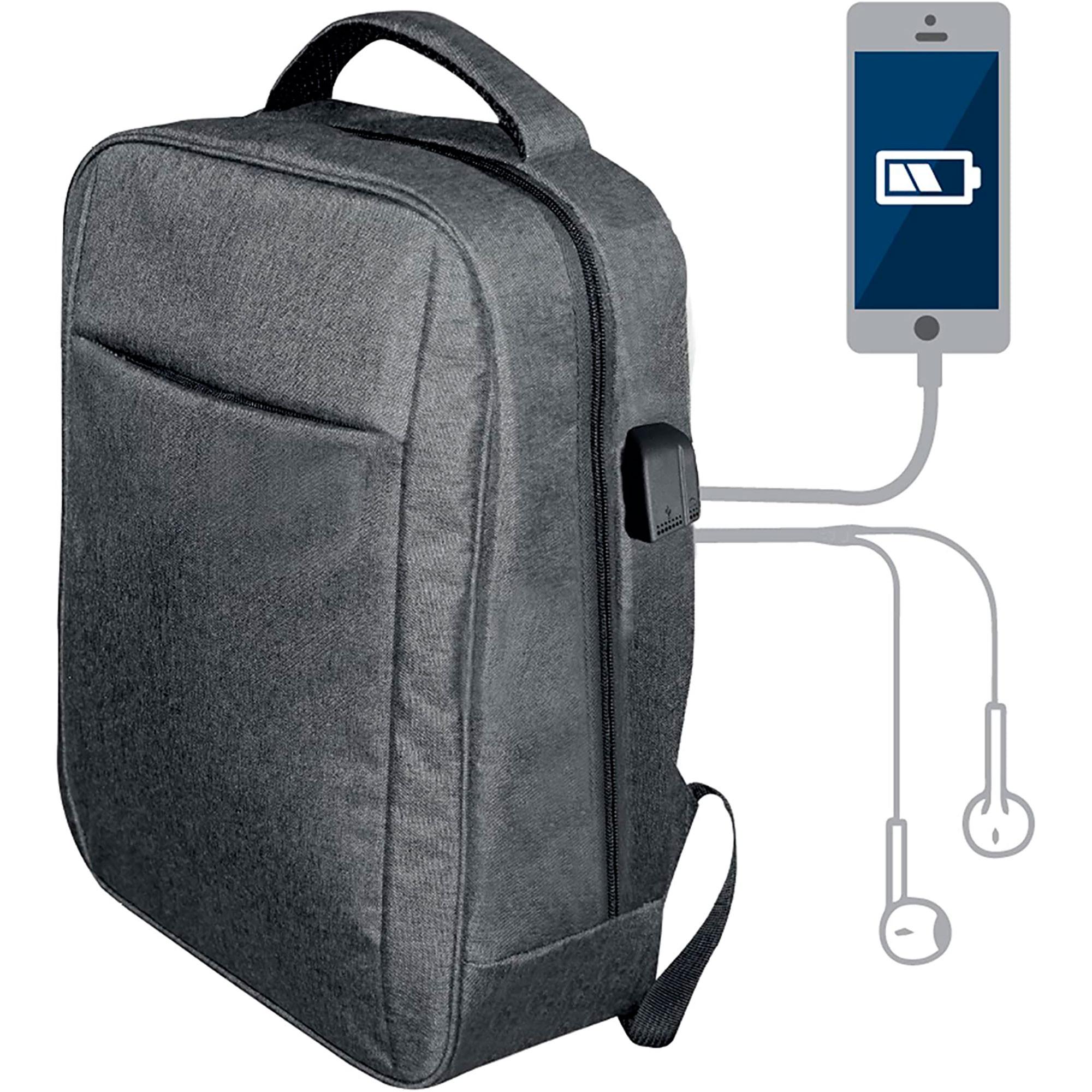 Blaupunkt BLP0280.143 Mochila con Cargador USB, Toma de auriculares, Cómoda, Resistente, Gris