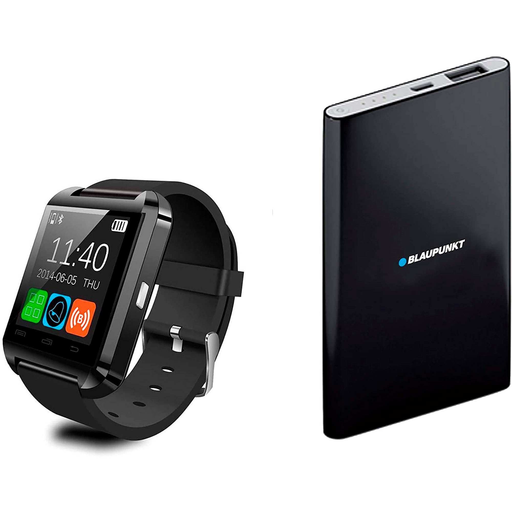 BLAUPUNKT BLP1800 Set Smartwatch + Batería Externa 4000 mAh, Monitor de Actividad, Sueño, Pulsómetro, Podómetro, Contador de Calorías, Power Bank, IOS y Android, Negro