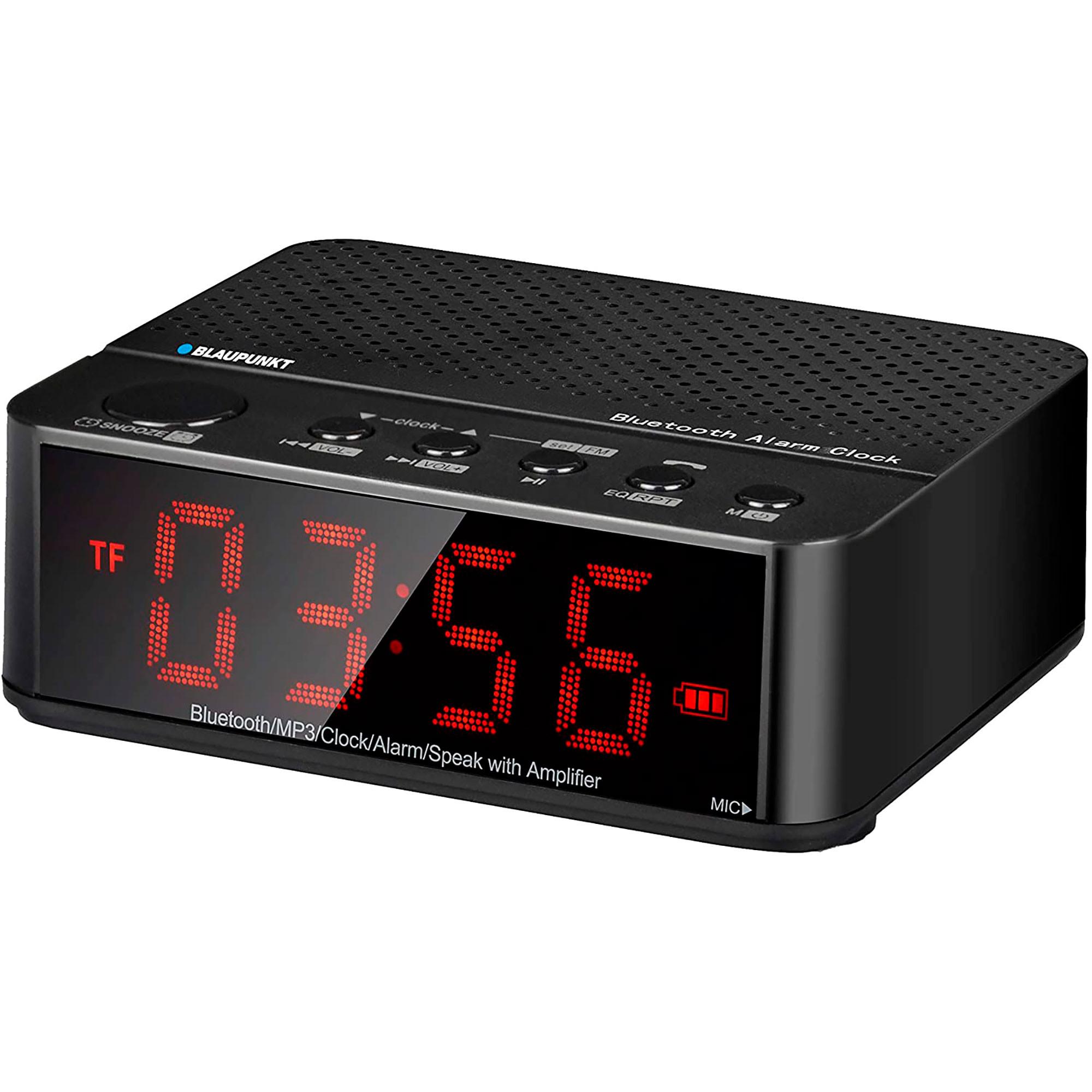 Blaupunkt BLP2000 Radio Despertador Digital con Bluetooth (Micro SD, AUX-IN, FM) altavoz Inalámbrico, Manos Libres, Batería 2000mAh, Alarma, Negro