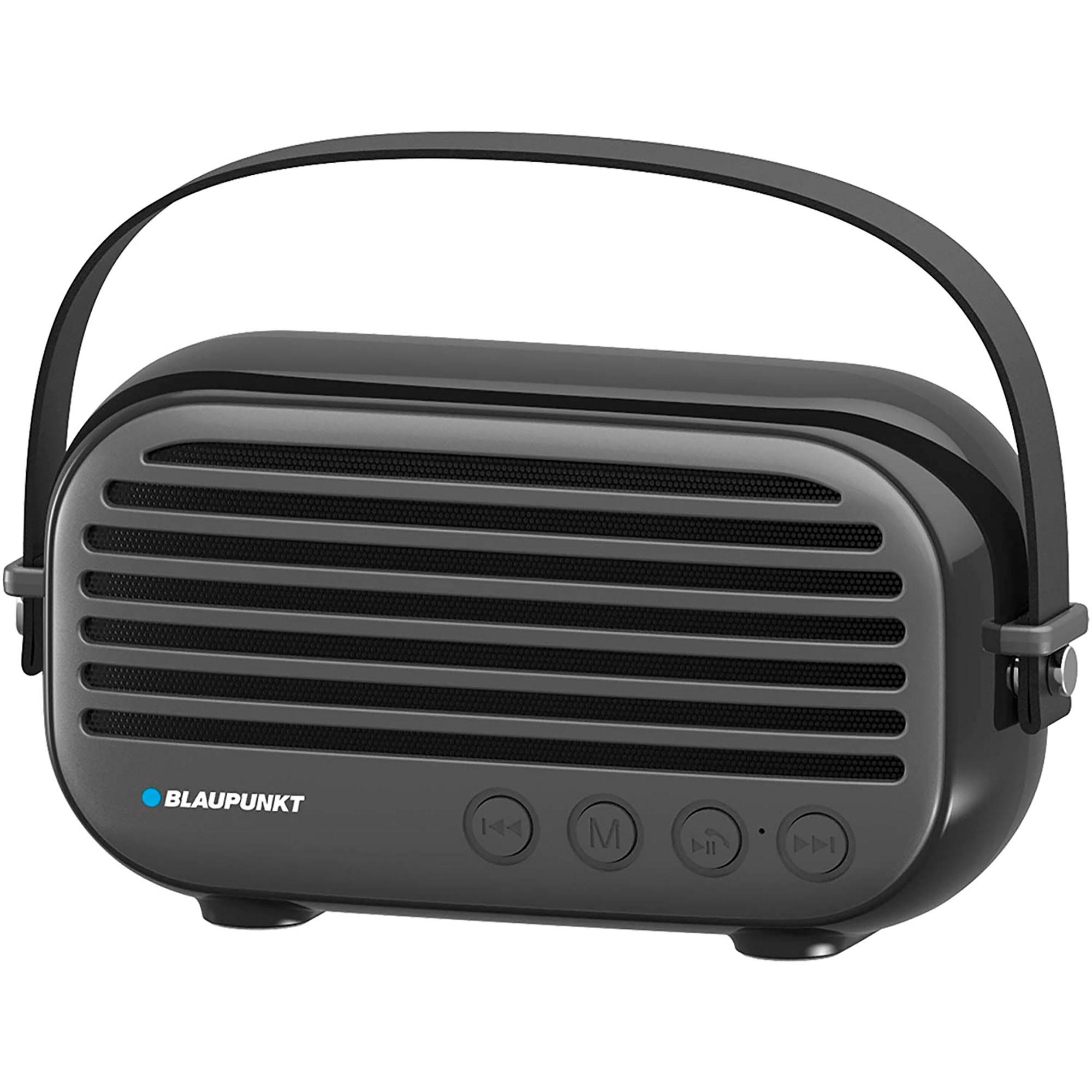 Blaupunkt BLP3350N Altavoz Bluetooth, Vintage, Radio Fm, USB, MICRO SD, AUX, Portátil, Potencia Sonido 10W, Inalámbrico, Manos Libres, Negro