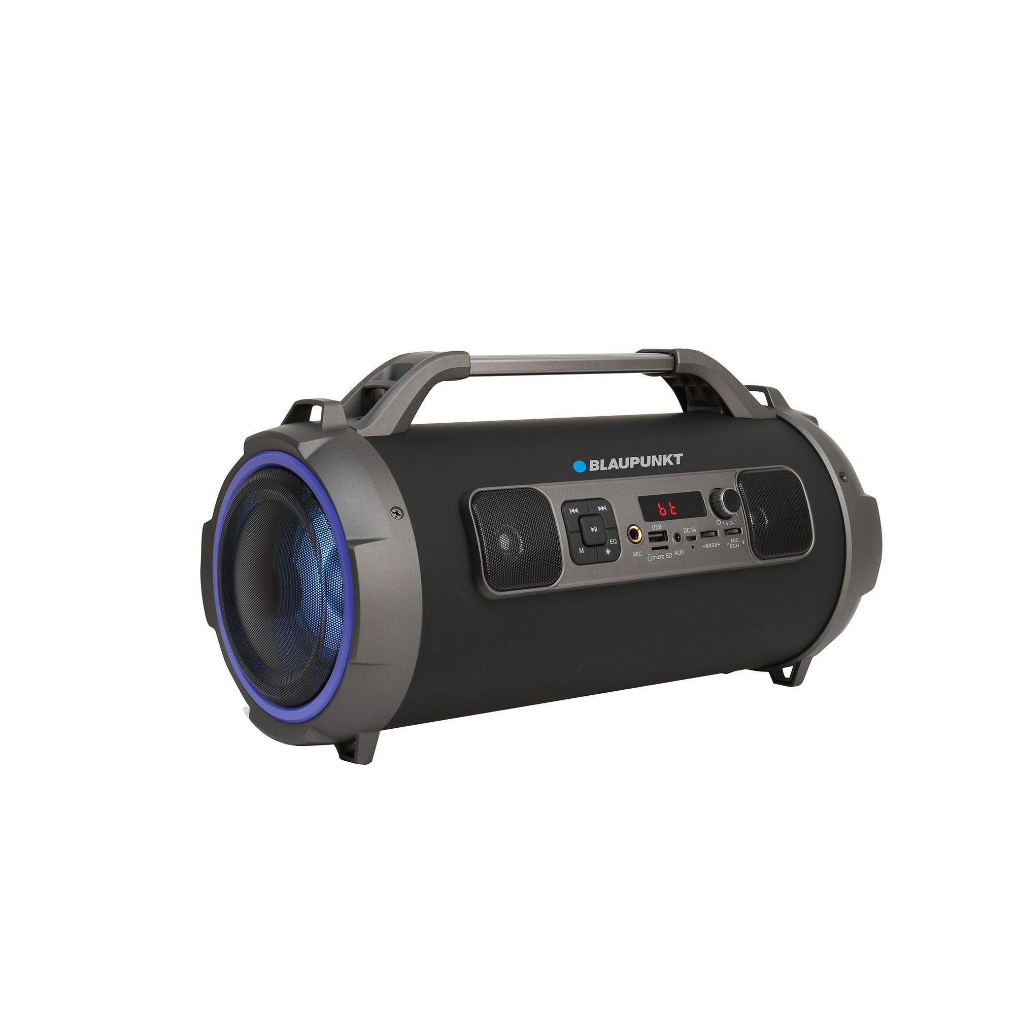 Blaupunkt BLP3970 Altavoz Bluetooth, Portátil, Iluminación LED, Potencia Sonido 20W, Subwoofer, Alcance 10m, USB, Micro-SD, Inalámbrico, Batería Recargable