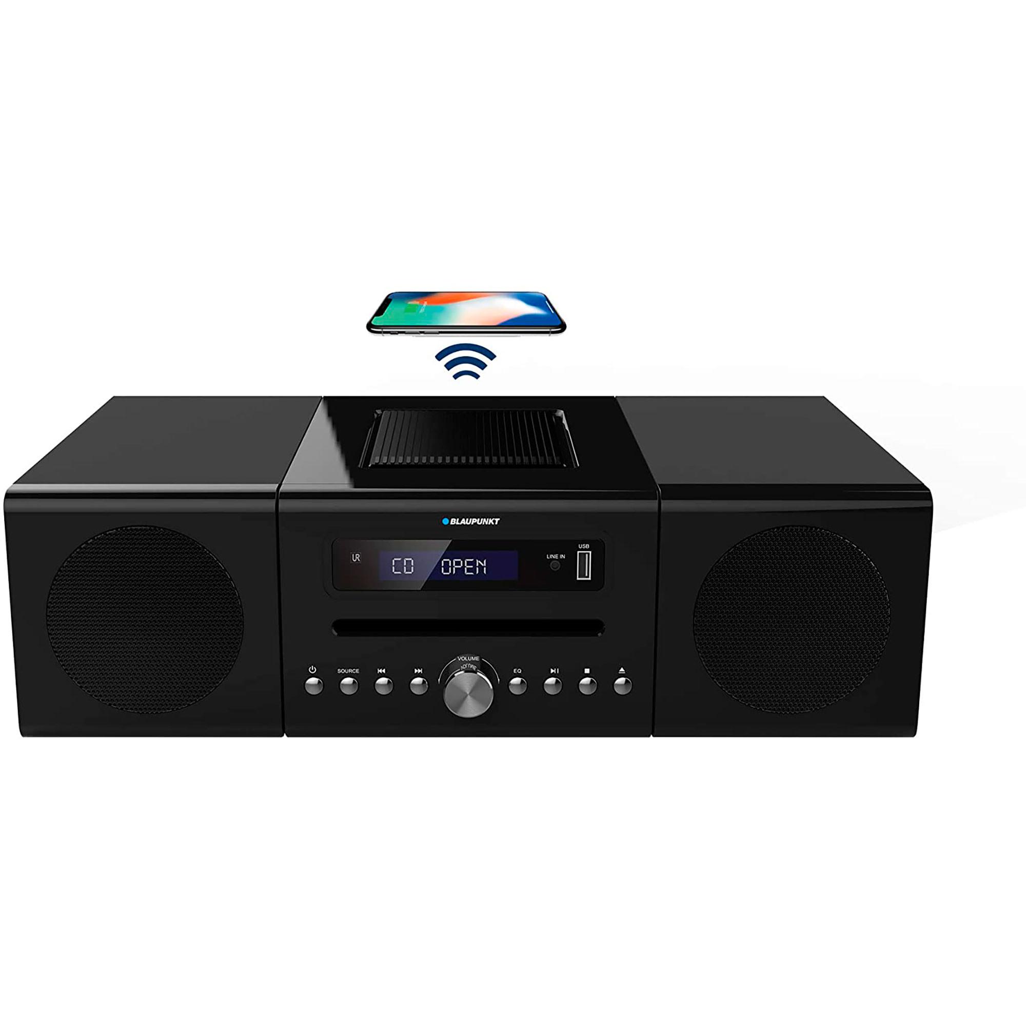 Blaupunkt BLP8800 Mini Cadena, Radio FM, Reproductor CD, Bluetooth, Puerto USB y AUX-IN, Base para Cargar Smartphone, Potencia Sonido 40W, Pantalla LCD, Negro