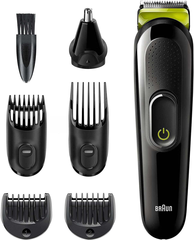 Braun MGK3221 Recortadora 6 en 1, Máquina recortadora de barba, cortapelos, recortadora facial, para nariz y orejas para hombre, color verde eléctrico