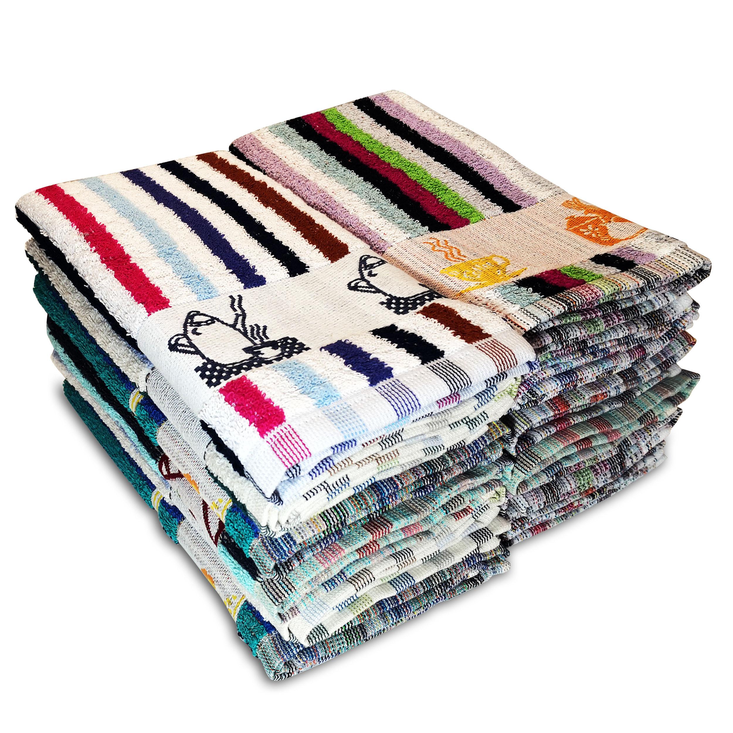 Briebe Home 12 Paños de Cocina Rizo 100% algodón, 50X50cms, Hecho en Portugal, Rayas Multicolor con Dibujo Bordado, Juego de Trapos Suaves